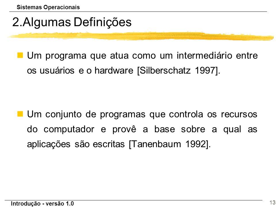 2.Algumas Definições Um programa que atua como um intermediário entre os usuários e o hardware [Silberschatz 1997].